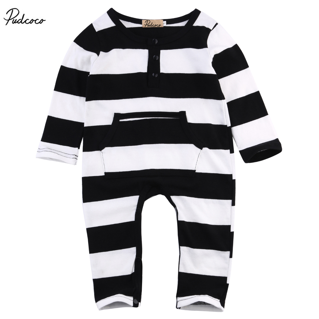 Cute Kids Baby Boys Girls Long Sleeve Striped Romper Cotton Large Pocket Jumpsuit Newborn Clothes Outfits 0-3Y puseky 2017 infant romper baby boys girls jumpsuit newborn bebe clothing hooded toddler baby clothes cute panda romper costumes
