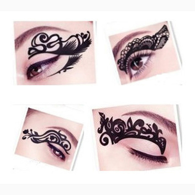 1PCS Eye Tattoos Eye Rock Lace Sticker Waterproof Temporary Tattoos Liner Tattoo Eyeshadow Temporary Tattoo Eye Makeup Sticker