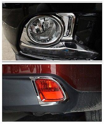 Front foglight + rear Fog Light cover trim 4pcs for Toyota Highlander 2014 2016