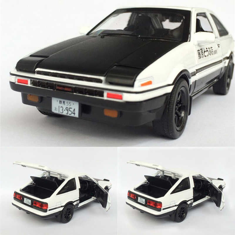 1:28 Toyota AE86 Alloy Diecast Car Model Pull Back Toy With Light Sound For Kid Toys Gifts Free Shipping
