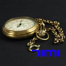 wholesale Classic Copper Pocket Mechanical Watch Gear Chain freeship