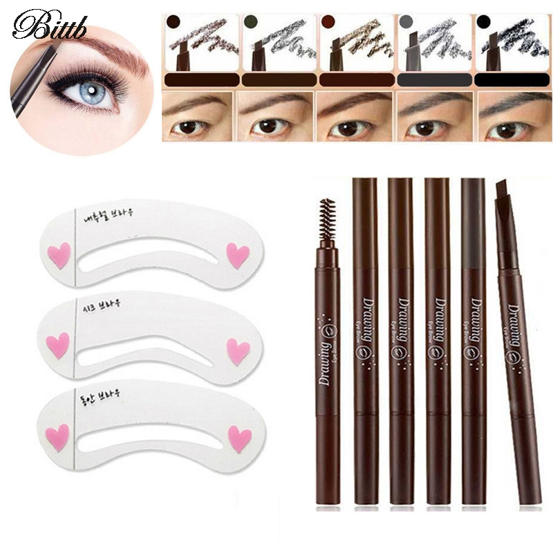 Bittb Eyebrow Care Makeup Set Coffee Brow Pencil Eyebrow Template Stencils Liquid Eye Liner Brow Painting Board Enhancer Beauty