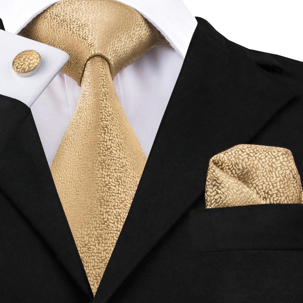 SN-532 Hot Selling Wholesale Golden Solid Tie Hanky Cufflinks Sets Men's Long Last Silk Ties For Formal Wedding Party Necktie