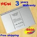Garantía de $ number años! 6600 mah ma092t a1189 batería del ordenador portátil para apple macbook pro 17 pulgadas ma897x/a ma611b a1151 a1212 a1229 a1261