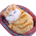3-10 years baby Lovely Simulation Sounding Sleeping Cat Cute Breathable Plush Toy with Nest Interesting Birthday Christmas Gift