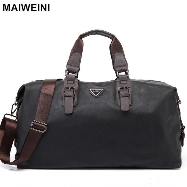 Maiweini New Fashion Leather Mens Travel Bags Large Capacity Waterproof Duffle Bag Vintage Hand Luggage Shoulder