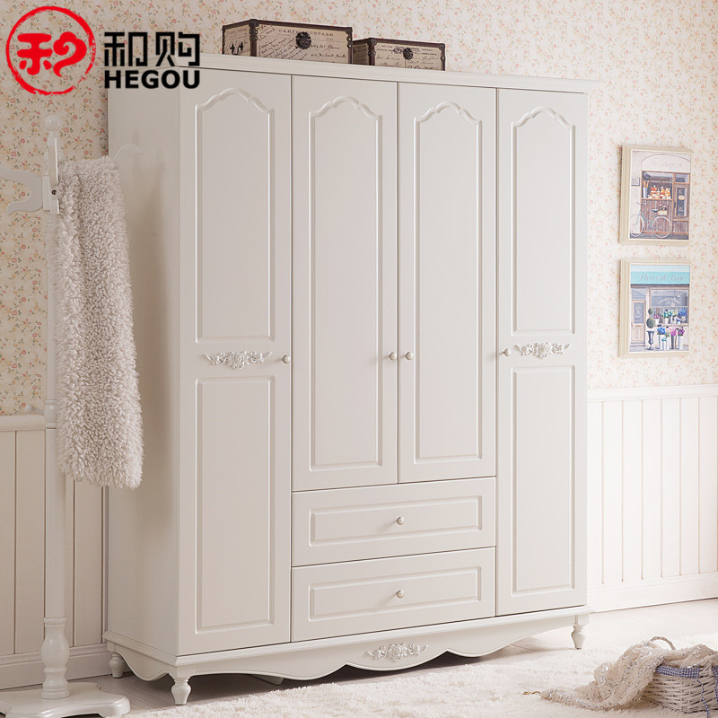 And Furniture Bedroom Wardrobe White Wooden Past Wood Closet Four Children Hg082