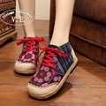 Vintage Embroidery Shoes Thai Boho Cotton linen canvas cloth national handmade woven flat embroidered Lace up Shoes