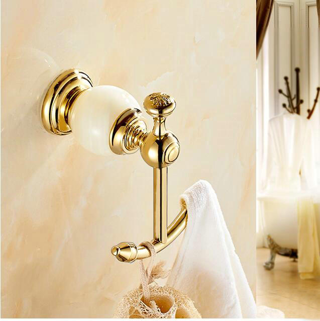 2 colors bathroom accessories wall mounted brass jade golden single robe hook clothes hooks decorative coat hooks 2215 - Decorative Coat Hooks