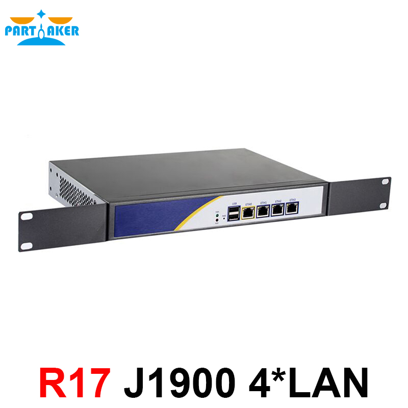 Partaker R17 Intel PCI-E 1000M 4*82583v Firewall Network Server With Intel Celeron J1900 Quad Core Processor