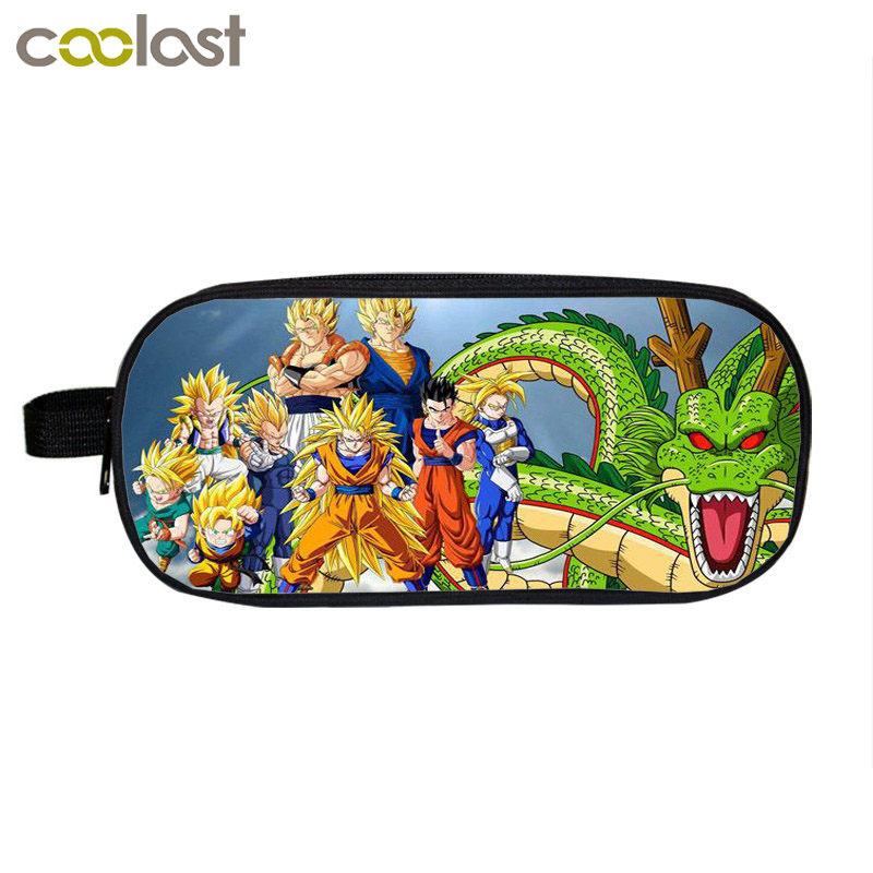 Anime Dragon Ball Cosmetic Cases Sun Goku Pencil Holder Boys School Case Kids Cases Cartoon Makeup Bag Material Escolar Lapices  multifunction cosmetic cases women make up bag punk skull print kids boys pencil pen bag for school boys girls stationary holder