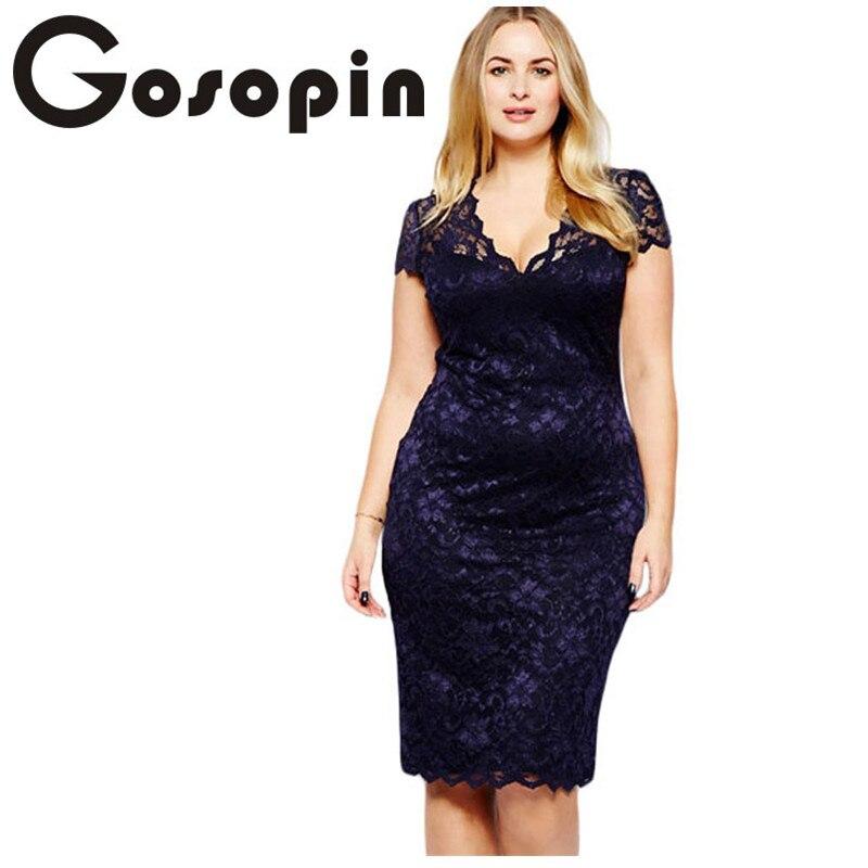 Gosopin lace party dresses Summer Elegant Women Tunic Navy Blue Scalloped V neck Lace Plus Size
