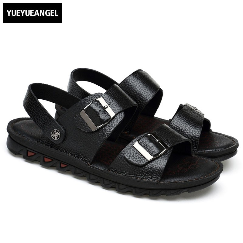 Leather Handmade Thick Platform Sandals Men Summer Leather Beach Shoes Plus Size 46 47 Casual Outdoor Slides Male Flip Flops