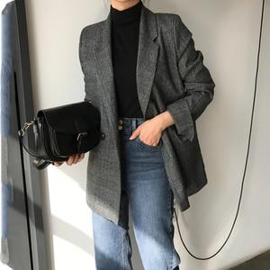 Image 2 - CBAFU automne printemps veste femmes costume manteaux plaid outwear décontracté col rabattu vêtements de bureau travail piste vestes blazer N785