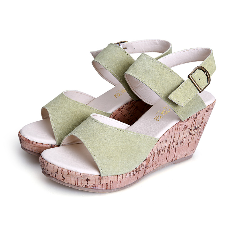 Cow Suede leather Women's Wedges Sandals Platform High Heel Buckle Strap Woman Sandals For Ladies Summer Shoes Bohemia Gladiator nayiduyun shoes women cow suede strappy sandals roman gladiator sandals platform wedges creepers party casual shoes summer size
