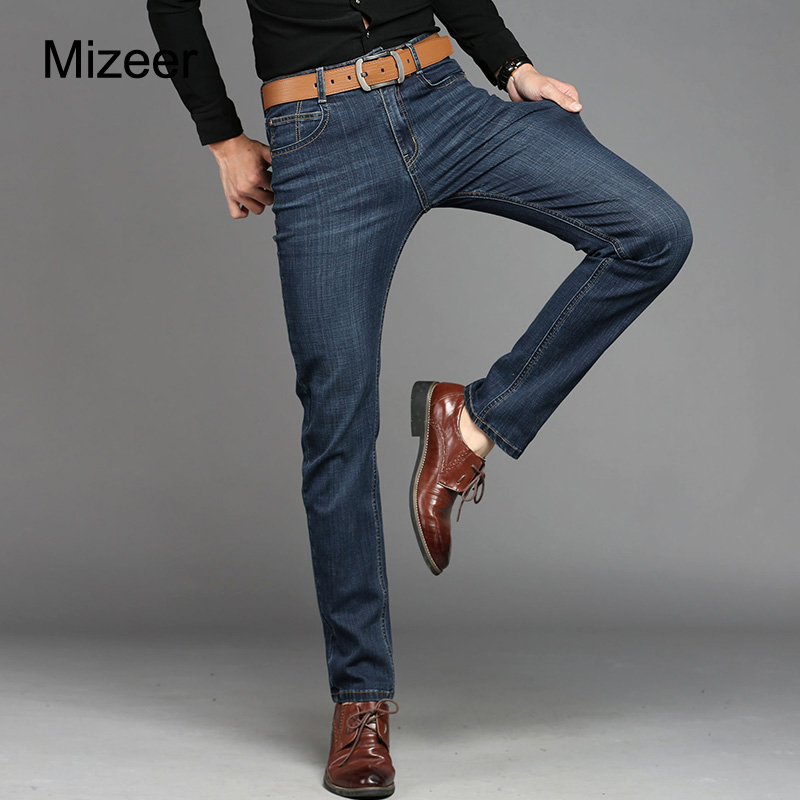 Mizeer 2017 Brand Big Size 28-38 New Men Jeans Fashion Casual Straight Denim Jeans Men Business Relax Trousers Pants Dark Blue sulee brand 2017 new fashion business men jeans cotton denim jeans casual straight washed pants stretch jeans plus size 28 40