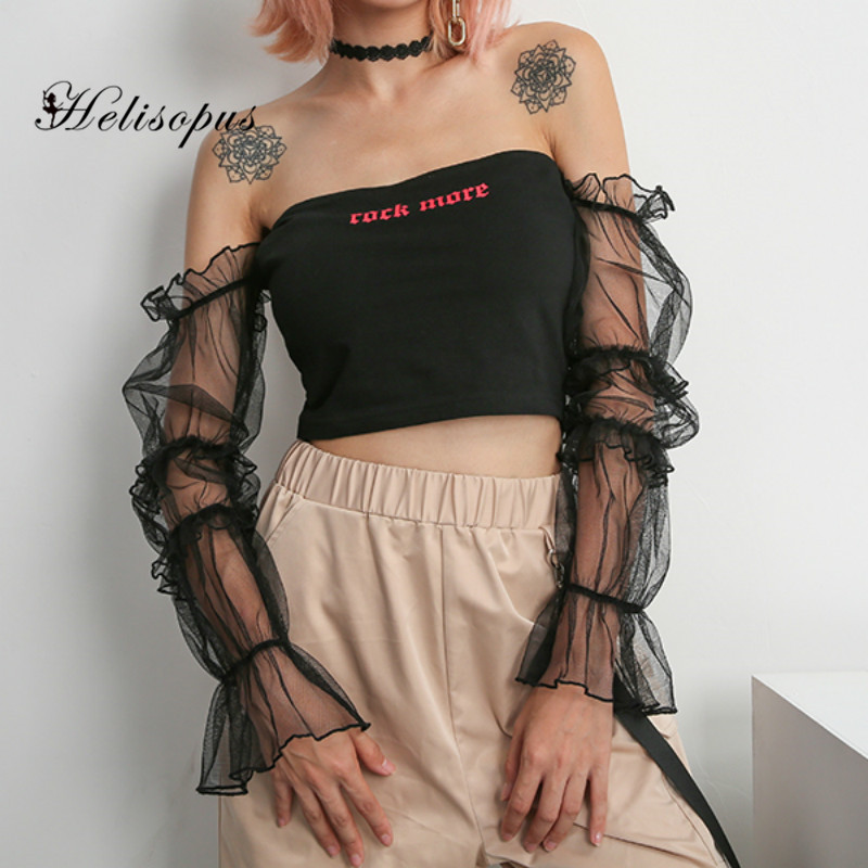 Helisopus Korean Gothic Mesh Patchwork T Shirt Black Sexy Off Shoulder Backless Letter Print Crop Tops Women Shirt Streetwear