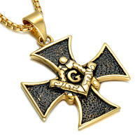 Hip Hop Rock Gold Plated Stainless Steel Chrome Hearts Masonic Mason Freemasonry Pendant Necklaces For Men