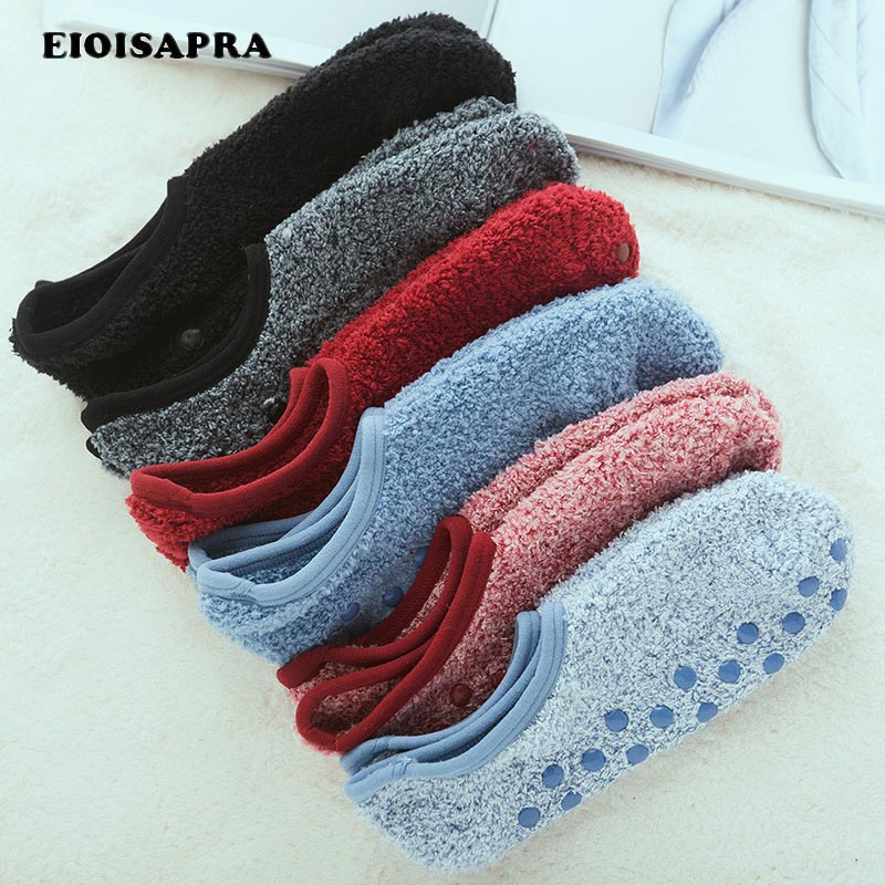 [EIOISAPRA]Coral Fleece Solid Warmer Floor   Socks   Women Reto Meias Funny   Socks   Lovely Sox Candy Color Antiskid Calcetines Mujer