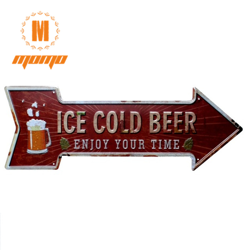 [ MOMO ] ICE COLD BEER Classic Arrow Irregular Retro souvenir Craft Wall Plaque Cafe decor Mix order Party Backdrops