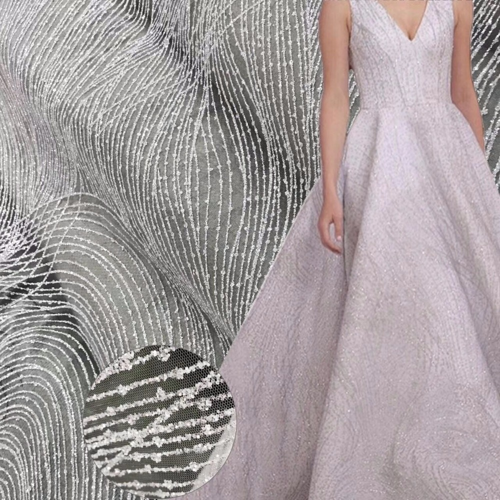 shinning french net fabric with glued glitter David 81139 glued glitter tulle lace fabric for evening