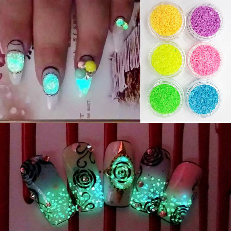 1 pcs 3d holographic nail glitter set glow in the dark powder ...