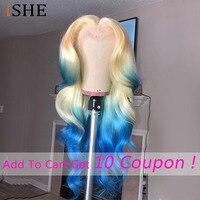 Цветной 613 синий полный парик шнурка человеческих волос с детскими волосами бесклеевой 13x6 Прозрачный Швейцарский Синтетические волосы на к