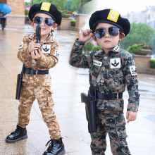 Children Military Uniform Boys Combat Shirt Army Suit Hallow