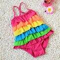 Baby Girl Summer Swim Suit One Pieces Set Cake Style Beach Swimwear Floral Toddler Kids Cute Swimwear Bikini S2016
