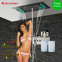 Bathroom Shower Faucets Shelf with Towel bar Rack Concealed Thermostatic Shower Panel Mixer Valve LED Ceiling Shower Head JF5422