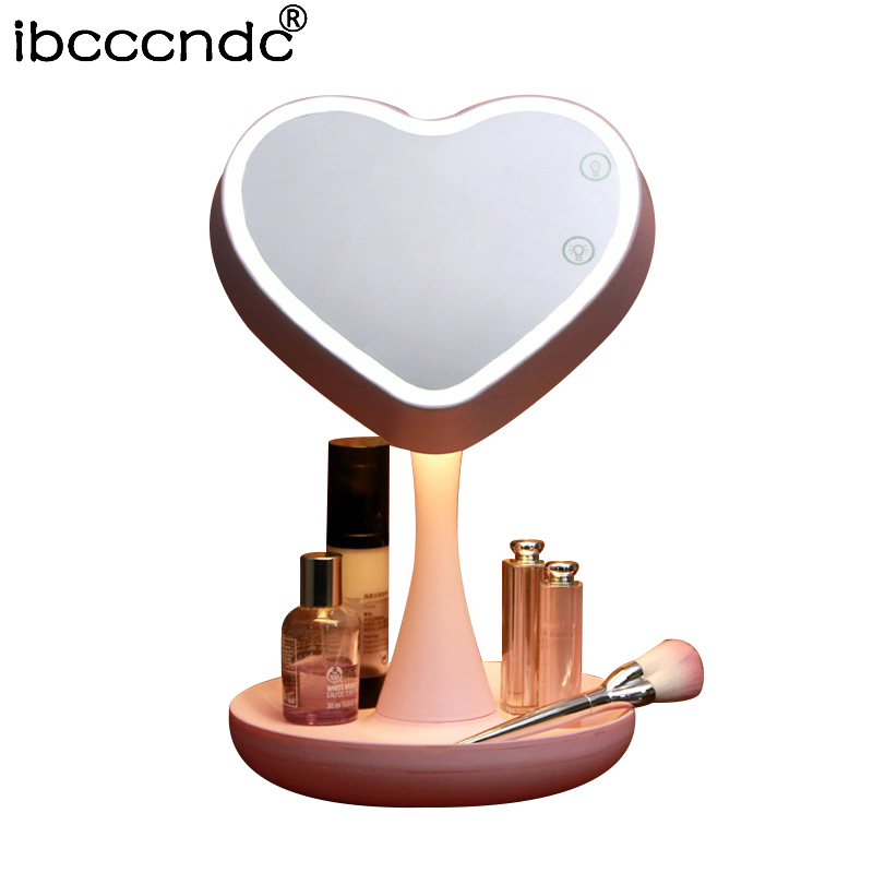 New Adjustable USB LED Lighted Makeup Mirror Touch Screen Portable Magnifying Vanity Tabletop Lamp Cosmetic Mirror Make Up Tool portable led touch screen makeup mirror