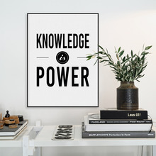 Nordic Minimalist Black White Motivational Typography Knowledge Quotes Art Print Poster Wall Picture Canvas Painting Home Decor