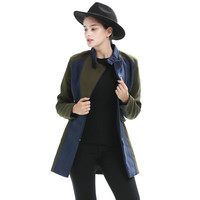 Autumn and winter explosion models women's jacket hit color collar collar size slim temperament woolen coat