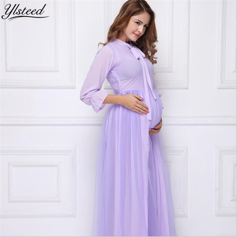 Violet Long Sleeve Maternity Dress Fancy Photo Shooting Maternity Photography Props Maxi Maternity Gown Pregnant Women Clothes maternity maxi dress pregnant photography photo props fancy women clothes