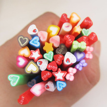 Colorized 3d Bow Tie Star Heart Nail Art Fimo Canes 2015 New Arrival Cute Fashion Decorations DIY F001
