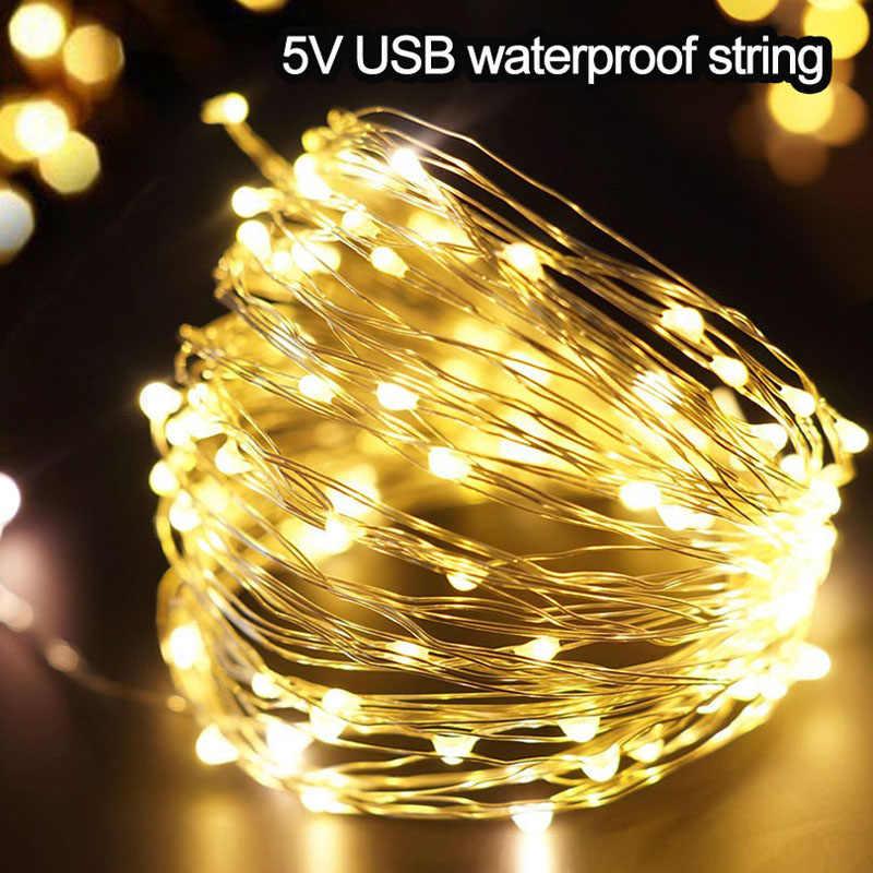 Cuerda de luces de hadas alimentada por batería USB impermeable 2M 5M 10M 20-100 leds cadena Línea Plateada luciérnaga vacaciones tira de luz