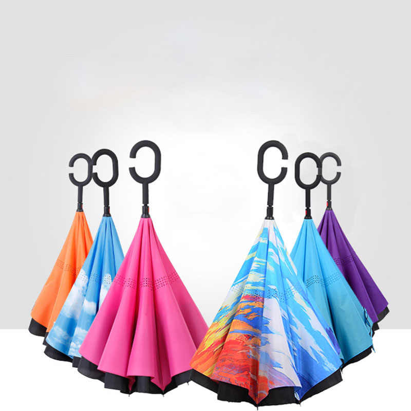 Çift katmanlı ters rüzgar geçirmez yağmur araba şemsiye kadınlar için katlanır ters şemsiye