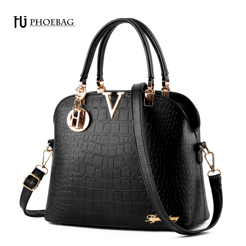 HJPHOEBAG Fashion women shoulder bag excellent quality leather Shell bag crocodile grain crossbody bags elegant female