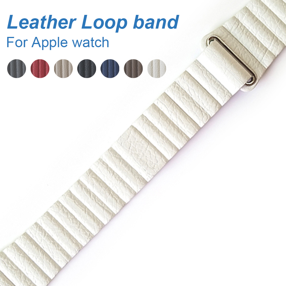 Leather loop Band for Apple watch Series 4 44mm 40mm Adjustable Magnetic Closure Loop Strap watchband for iWatch 3 42mm 38mm leather loop band for apple watch series 3 2 adjustable magnetic closure loop strap watchband for apple watch 42 38 40 44mm ba