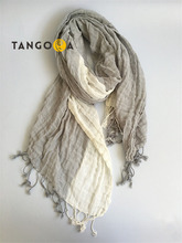 Tassel Striped Cotton Linen Long Scarf for Men/Women 2017 Summer Woman/Man Scarf Fourlard Shawls Wraps AP1(China)