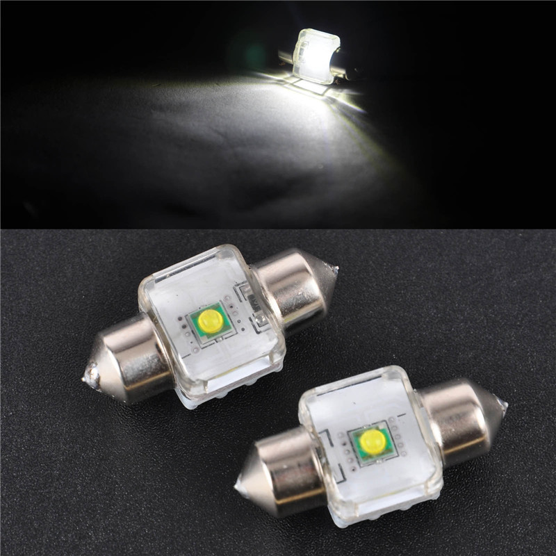 2pcs 12V 28mm 1LED Super Bright Festoon Lamp Light Dome Interior LED Bulb White LED Dome Bulb For Auto Car Accessories 2pcs 12v 31mm 36mm 39mm 41mm canbus led auto festoon light error free interior doom lamp car styling for volvo bmw audi benz