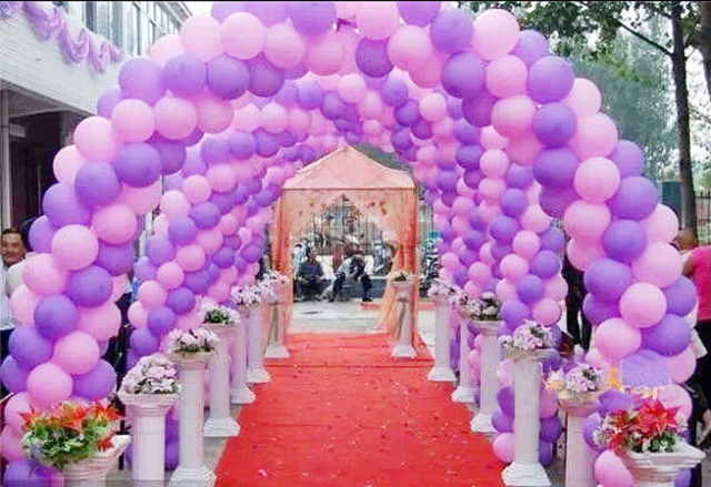 latex Balloon arch decorations with pink purple color ...