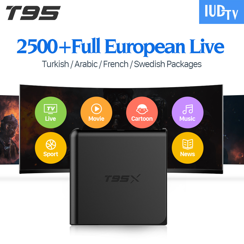 T95X Arabic French IPTV Box with IUDTV 1 Year IPTV Subscription Europe Turkish Holland Spain Italy France Sweden Belgium IPTV free italy sky french iptv box 1300 european channels iudtv european iptv box live stream sky sports turkish sweden netherland