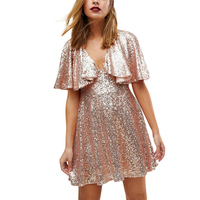Pink short sleeve V neck mini sequined dresses women ladies sexy see through lace spliced back cape sleeve short party dresses