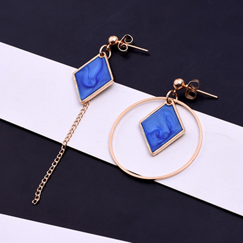 Blue Color Square Shape Round Circle Earrings Temperate Asymmetric Earrings For Women Ta ...