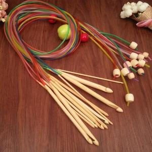 Free Shipping colorful bamboo crochet hooks 12pcs size 3.0-10.0mm crafts crochet for DIY knitting needlework knitting needles