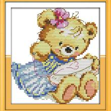 free 11CT Printed DIY Needlework The Embroidery Teddy Bear DMC Counted Cross