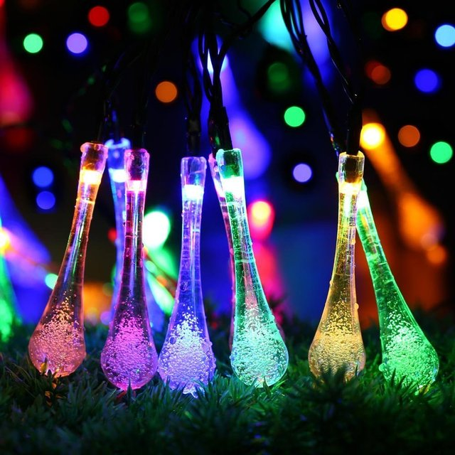 LED Solar Powered String Lights 7M 20LED Water Drop Fairy