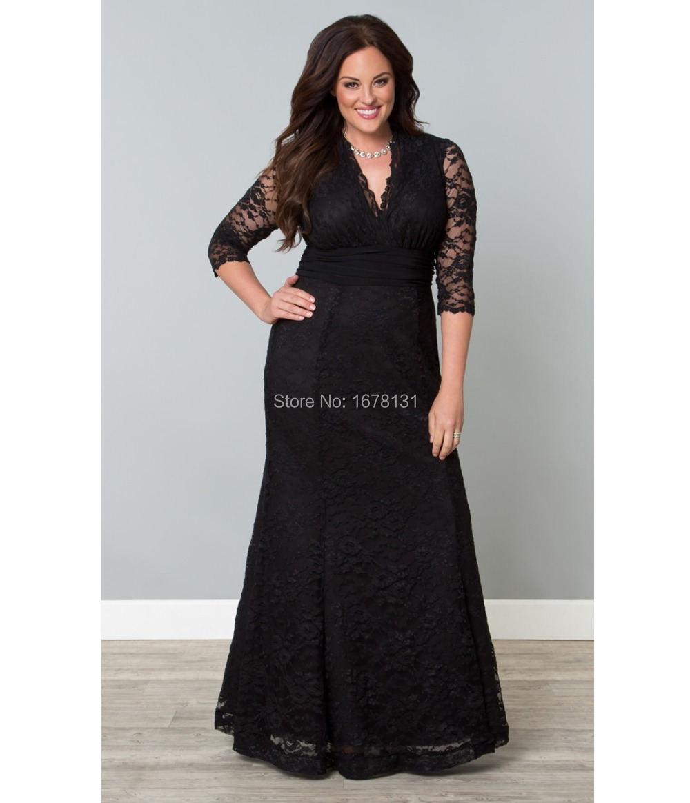 Black dress v neck 3 4 sleeves - New Design 2015 Black Long Lace Mermaid 3 4 Sleeve V Neck Formal Evening Dress For Women Plus Size Special Occasion Gowns Zh546 In Evening Dresses From