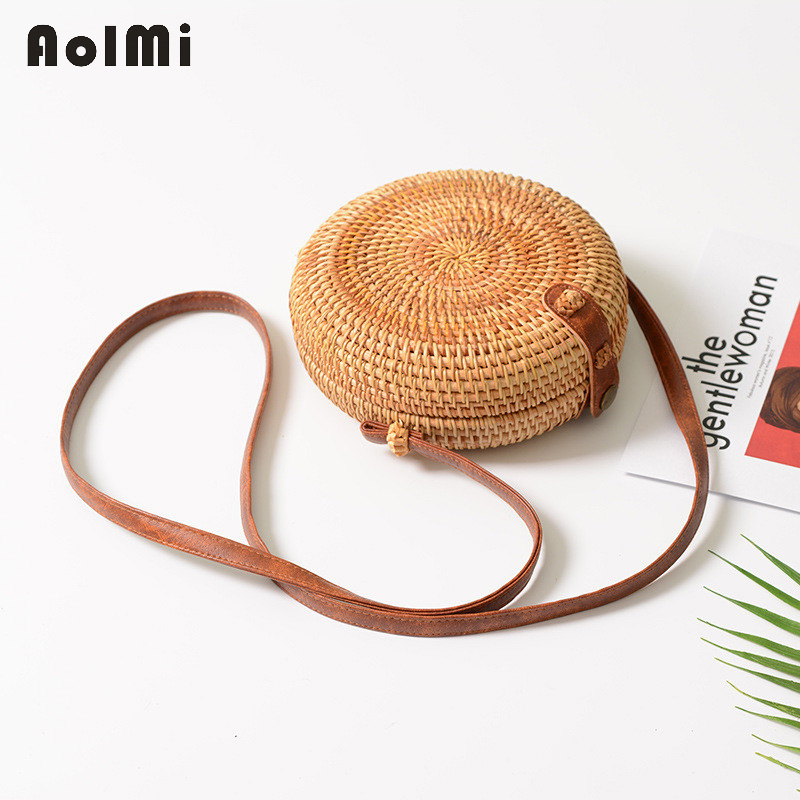 AolMi Small Woven Flap Round Straw Bag Rattan Crossbody Shoulder Bag Summer Beach Bag Women Fashion Messenger Bag bolsos mujer 2 pieces of clothes on the beach summer flowers package original manual bales of straw bag woven rattan high end shoulder